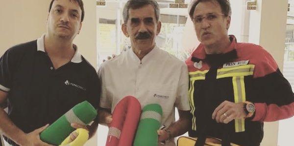 Francisco Ruiz presentando el prototipo SIPE Baby Rescue en Argetina